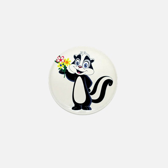 Friendly Skunk with Flower Bouquet Mini Button