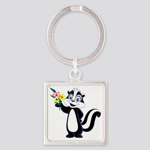 Friendly Skunk with Flower Bouquet Square Keychain