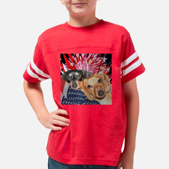 4th of july dachshunds Youth Football Shirt