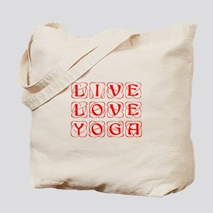 LIVE-LOVE-YOGA-KON-RED Tote Bag