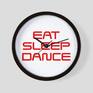 eat-sleep-dance-saved-red Wall Clock