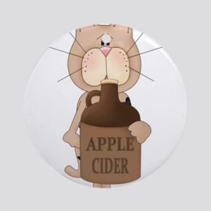 cat with Apple Cider Ornament (Round)