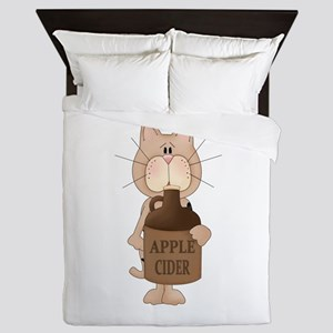 cat with Apple Cider Queen Duvet