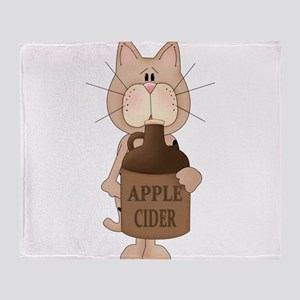 cat with Apple Cider Throw Blanket
