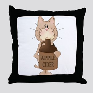 cat with Apple Cider Throw Pillow