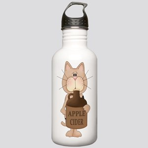 cat with Apple Cider Water Bottle