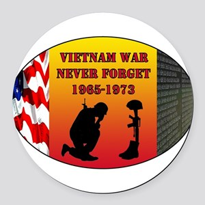 Vietnam War Memorial Round Car Magnet