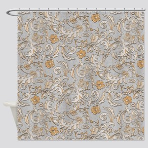 silver and gold shower curtain. Elegant Gold And Silver Scrolls Shower Curtain And Curtains  CafePress