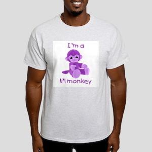 I'm a li'l monkey (purple) Ash Grey T-Shirt