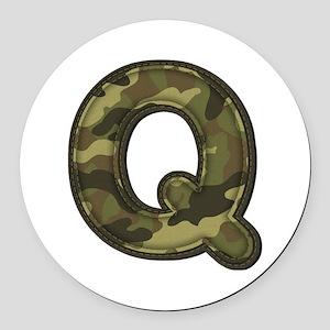 Q Army Round Car Magnet
