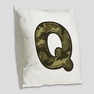 Q Army Burlap Throw Pillow