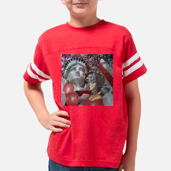 4th of July Dachshund Dogs Youth Football Shirt