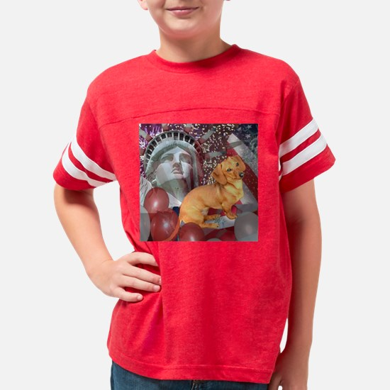 4th of July Dachshund Dog Tig Youth Football Shirt