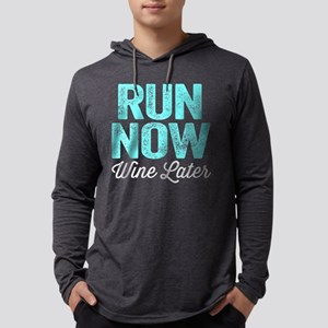 Run Now Wine Later Mens Hooded Shirt