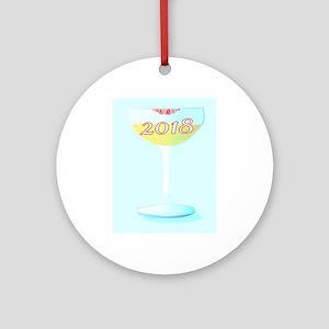 2018 Glass of Champagne Round Ornament