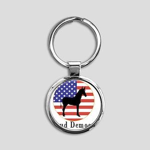 Proud Democrat Round Keychain