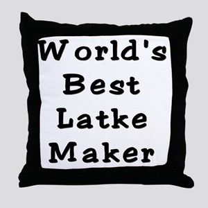 Worlds Best Latke Maker Black Throw Pillow