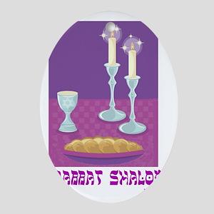 Shabbat Shalom Oval Ornament