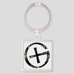 Geocache symbol distresssed Square Keychain