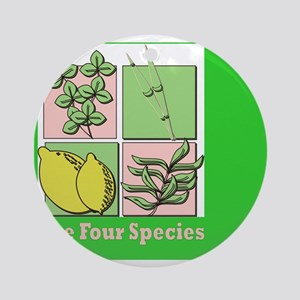 Te Four Species Succah Poster Round Ornament