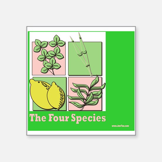 "Te Four Species Succah Post Square Sticker 3"" x 3"""