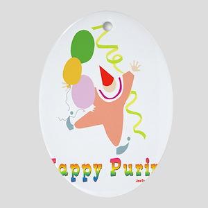 Happy Purim Multi flat Oval Ornament