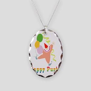Happy Purim Multi flat Necklace Oval Charm