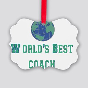 worlds best coach 2 flat Picture Ornament