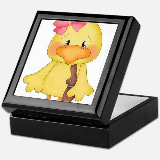 Duck with Chocolate bunny Keepsake Box