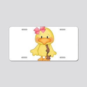 Duck with Chocolate bunny Aluminum License Plate