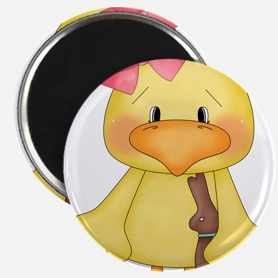 """Duck with Chocolate bunny 2.25"""" Magnet (100 pack)"""