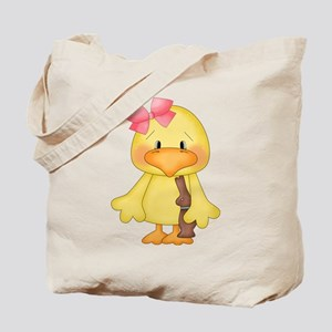 Duck with Chocolate bunny Tote Bag