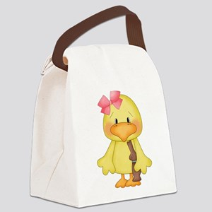 Duck with Chocolate bunny Canvas Lunch Bag