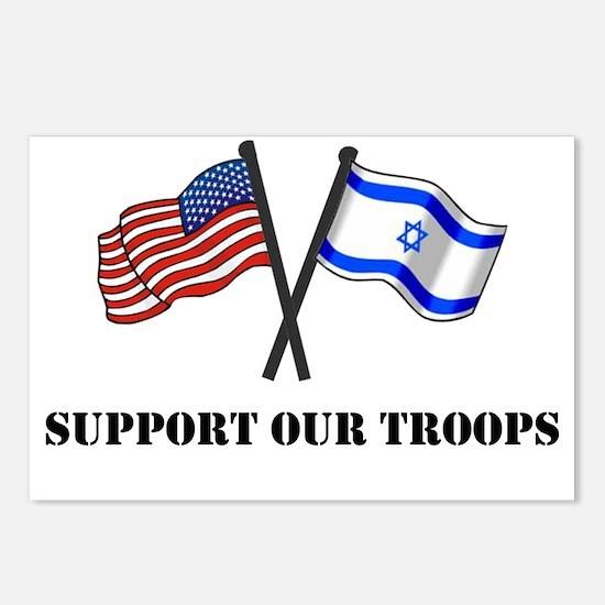 American Israeli Flags 3 Postcards (Package of 8)