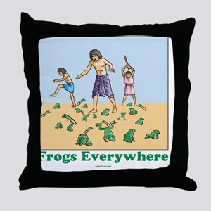 Frogs Everywhere flat Throw Pillow