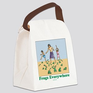 Frogs Everywhere flat Canvas Lunch Bag