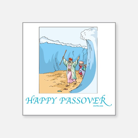 "HAPPY PASSOVER CARD 1 Square Sticker 3"" x 3"""