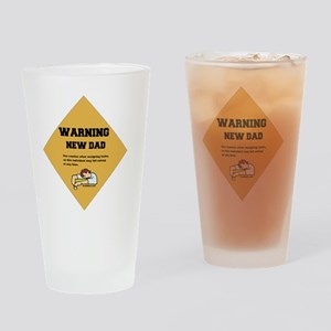 Warning New Dad 2 flat Drinking Glass