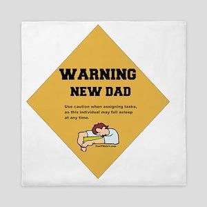 Warning New Dad 2 flat Queen Duvet