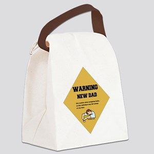 Warning New Dad 2 flat Canvas Lunch Bag