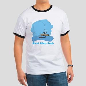 Real Men Fish Flat Ringer T