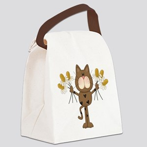 Cat with Daisies Canvas Lunch Bag