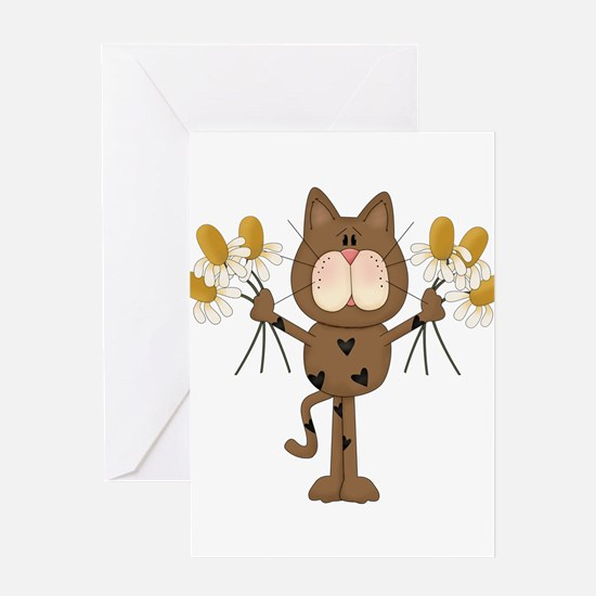 Cat with Daisies Greeting Card
