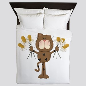 Cat with Daisies Queen Duvet
