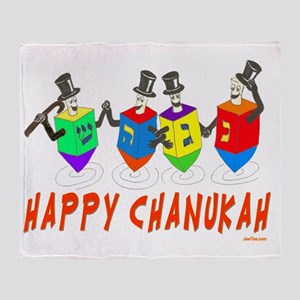 happy chanukah dreidelsflat Throw Blanket
