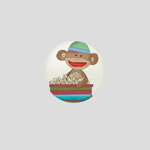 sock monkey popcorn Mini Button