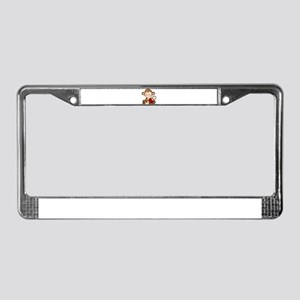 Monkey with candy License Plate Frame