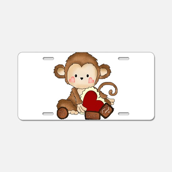 Monkey with candy Aluminum License Plate