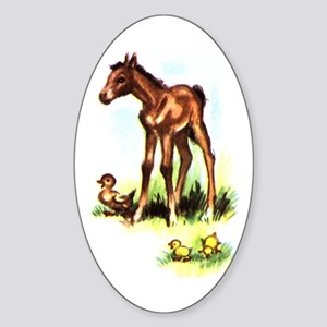 FOAL AND CHICKS Oval Sticker