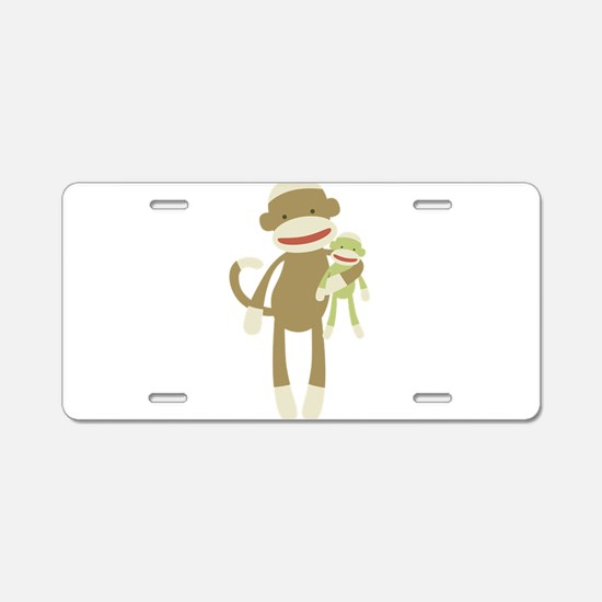 Sock monkey with baby Aluminum License Plate